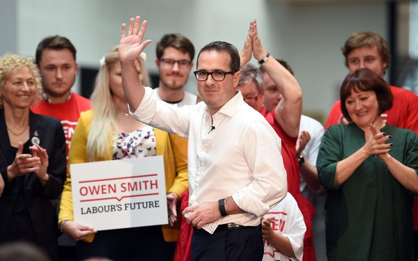 Labour leadership contender Owen Smith takes to the stage as he launches his campaign at the Coleg y Cymoedd in Nantgarw in Wales.